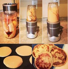 5 Minute Banana Pancakes 2 ripe bananas 4 eggs (or 6 egg whites) 2 tablespoons peanut butter or almond butter Dash vanilla Dash Cinnamon Optional scope of pea protein Optional cup of oatmeal uncooked Mix all the ingredients in a blender and then cook Healthy Snacks, Healthy Eating, Healthy Recipes, Vegetable Smoothie Recipes, Ninja Recipes, Blender Recipes, Healthy Drinks, Clean Eating Recipes, Cooking Recipes