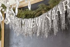 New Years Eve Decor Tinsel Garland Silver Trees New Years Eve Pictures, New Years Eve Quotes, New Years Eve Games, Happy New Years Eve, New Years Eve Decorations, Diy Party Decorations, Christmas Decorations, Christmas Parties, Holiday Fun