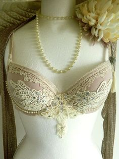 Beautiful Vintage style Pink and cream Bra  by TheMagpiesRiver, £46.50