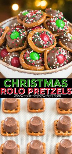 These Rolo Pretzels with M&M Candies are a family favorite! Everyone will enjoy this easy Christmas treat. These are a huge hit around the holidays! Easy Christmas Treats, Holiday Snacks, Christmas Party Food, Snacks Für Party, Christmas Sweets, Christmas Cooking, Holiday Recipes, Easy Christmas Baking Recipes, Christmas Pretzels