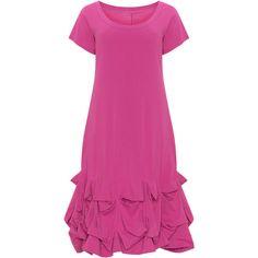Boris Pink Plus Size Draped hem A-line dress ($72) ❤ liked on Polyvore featuring dresses, pink, plus size, pink midi dress, pink jersey, womens plus dresses, a line dress and midi dress