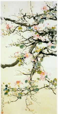 huariqueje:  Bauhinia  -  Xu Beihong Chinese 1895-1953 Ink and colour on paper