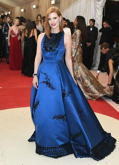 Jessica Chastain in a Prada dress and Piaget jewelry