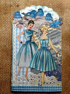 Blue and White ATC - Donetta Farrington. Junk Journal, Art Journal Pages, Patron Vintage, Vintage Tags, Vintage Sewing, Atc Cards, Card Tags, Collages, Collage Art