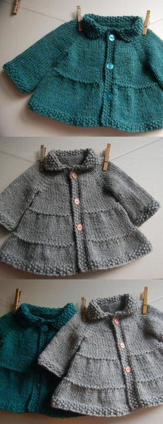 This crochet baby jacket pattern will keep your baby toasty warm this winter. Get the pattern at Craftsy. This crochet baby jacket pattern will keep your baby toasty warm this winter. Get the pattern at Craftsy. Baby Knitting Patterns, Baby Clothes Patterns, Knitting For Kids, Baby Patterns, Baby Sweater Knitting Pattern, Coat Patterns, Crochet Jacket Pattern, Crochet Baby Jacket, Cardigan Bebe