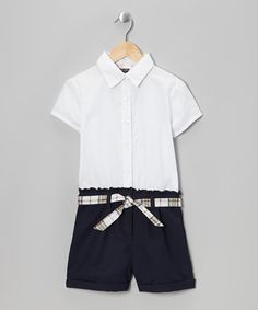 Eddie Bauer White & Navy Button-Up Romper - Size Medium (10/12) NWT Girls #EddieBauer