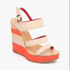 striped summer wedge