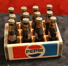 "Miniature Vintage Set of 12 Pepsi Soda Bottles + Wooden Crate - Mini 3"" Glass in Collectibles, Advertising, Soda 