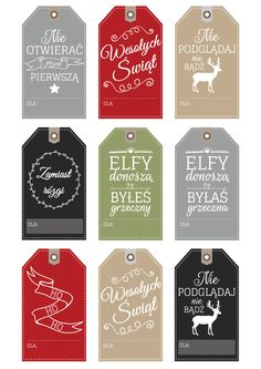 Etykiety (bileciki) prezentowe do wydrukowania | one little smile Christmas 2016, Christmas Time, Xmas, Holiday, Journal Organization, Christmas Decorations, Christmas Ornaments, Inspirational Gifts, Kids Decor