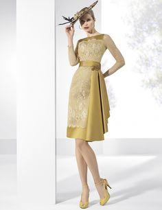 Vestidos de fiesta cortos de tafeta y tul bordado en dorado.