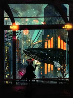 wonderful representation of Rapture, it's such an immersive image.. the little sister looks so lonely looking through that glass to the depths of the ocean lit by Rapture's neon lights bursting with life while the city slowly dies