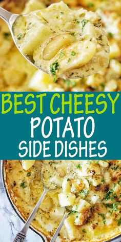 Easy recipe for oven baked cheesy potatoes that make the best side dish ever! Homemade delicious potato dish to serve with everything. #potatoes @sweetcaramelsunday