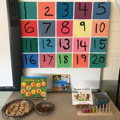 The math area is tucked in a corner but near a large floor space and table to take station and manipulatives to. Starting very simple with… Preschool Tables, Math Tables, Preschool Math, Math Activities, Full Day Kindergarten, Kindergarten Centers, Teaching Kindergarten, Eyfs Classroom, Classroom Displays