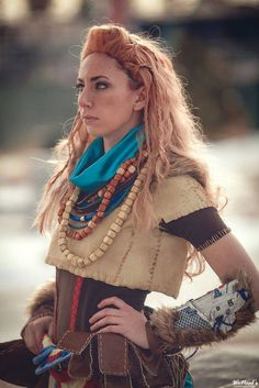 Aloy - Horizon Zero Dawn cosplay by Cosplayer: AlyCat Cosplay Photographer: WeNeals Photography Horizon Zero Dawn Cosplay, Costume Makeup, Plaid Scarf, Third, Costumes, Halloween, Photography, Ideas, Fashion