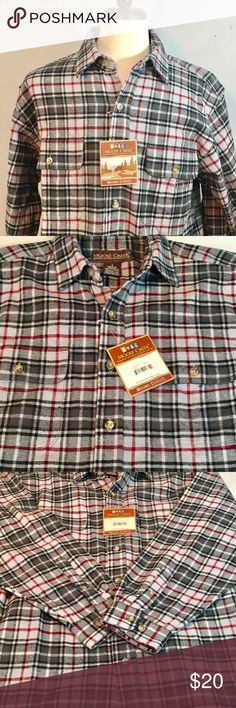 Moose Creek Men's Plaid Flannel Moose Creek Flannel Plaid Shirt. New with Tag never worn. Size Large. Smoke free and pet free home. Shop with confidence and please look at my page for other apparel designer brands and bundled rates. Moose Creek Shirts Casual Button Down Shirts