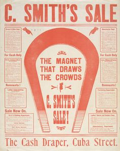 C Smith Ltd, The magnet that draws the crowds. Letterpress 570 x 440 mm, Printed Ephemera Collection, Alexander Turnbull Library.