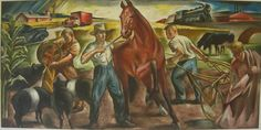 wpa post office mural - Pride of Cambridge City painted by Samuel F Hershey in 1941