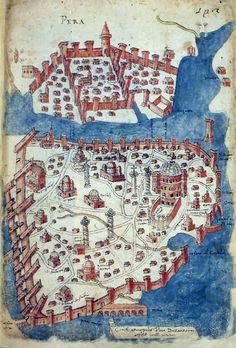 Constantinople – Map by Cristoforo Buondelmonti, a Florentine cartographer, from the volume Liber insularum archipelagi. Medieval Life, Medieval Art, Vintage Maps, Antique Maps, Merian, Map Globe, Byzantine Art, Fantasy Map, Old Maps