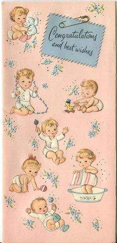 VINTAGE NEW BABY BABIES PLAYING DUCK RATTLE BATH CUTE GREETING CARD ART PRINT in Collectibles, Paper, Other Paper Collectibles | eBay