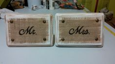 Burlap and wood signs for sweetheart table