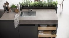 Kitchen island herb planter