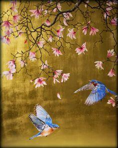 Magnolia with bluebirds - Ruth Winding Hand Painted Wallpaper, Painting Wallpaper, Fabric Painting, Japanese Painting, Japanese Art, Fleurs Art Nouveau, Gold Leaf Art, Art Deco Bedroom, Chinoiserie Wallpaper