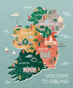 Illustration about Flat vector illustration with stylized travel map of Ireland. The landmarks and main cities like Dublin and Belfast. Text Welcome to Ireland. Illustration of culture, castle, capital - 64842626 Ireland Vacation, Ireland Travel, Honeymoon Ireland, Galway Ireland, Traveling To Ireland, Travelling, Travel Maps, Africa Travel, Travel Destinations