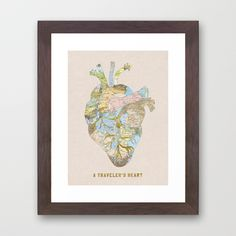 """A Traveler's Heart"" Framed Art Print by Bianca Green on Society6."