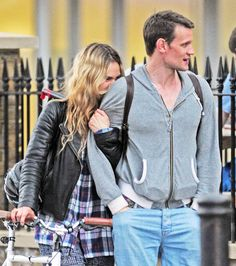 Lily James arrives on her bike to enjoy a date with new beau Matt Smith 11th Doctor, Doctor Who, Movie Couples, Cute Couples, Matt Smith Lily James, Rose And The Doctor, David Tennant, Dr Who, My Idol