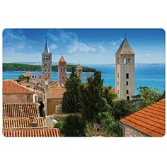 European Pet Mats for Food and Water by Lunarable, Aerial View of Old Town Croatia with Historic Towers Heritage Theme Art Print, Rectangle Non-Slip Rubber Mat for Dogs and Cats, Multicolor *** You can get additional details at the image link. (This is an affiliate link) #DogFeedingWateringSupplies