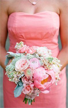 soft pink bridesmaid bouquet #bouquet #bridesmaids #weddingchicks http://www.weddingchicks.com/2014/03/19/perfectly-pink-wedding-bouquet-recipe/