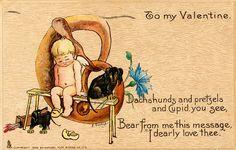 Vintage Dachshund Card