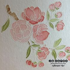 Stampin' Up! ... handcrafted card ... close-up of the white embossed line image on watercolor paper ... gorgeous!