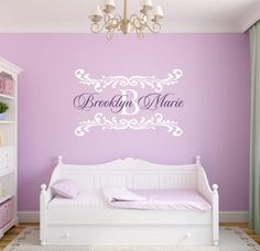 Name Wall Decal Damask Wall Decal Shabby Chic Heart by wallartsy, $45.00
