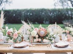 table decoration with pampas grass – Wedding Flowers Protea Centerpiece, Grass Centerpiece, Floral Centerpieces, Flower Arrangements, Table Arrangements, Centrepieces, Protea Wedding, Floral Wedding, Wedding Flowers