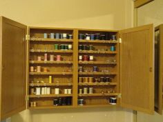 Who else has >40 colors of thread? This DIY cabinet organizes them beautifully.