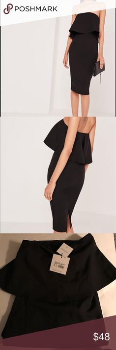 Missguided black frill bandeau midi dress New with tags never worn! Missguided Dresses Midi