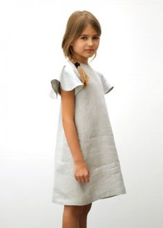 MOTORETA-Polis Grey Linen Dress. Just add a simple head bow and whalah! Super simple and cute.