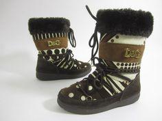 D&G DOLCE & GABBANA Brown Cream Stripe Polka Dot Patchwork Plush Boots Sz 37 38 at www.ShopLindasStuff.com