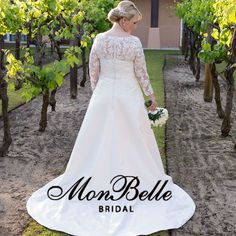 Sweetheart neckline classic lace satin A-line wedding dress with train. Style: LL16000 Custom design long sleeves wedding dress – Exclusive Gowns designed by Lindsey of Mon Belle Bridal