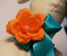 Orange teal blue wedding dog collar Orange flower by LADogStore, $38.50