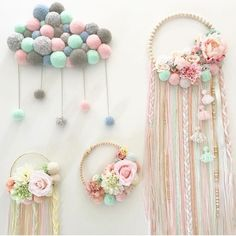 I like that pompom cloudPin by Ann Westby on MacrameBaby girl nursery decorations created with love, passion and care for details.Try using braided yarn instead of ribbon for tassels on embroidery hoop dream catcher.No photo description available. Baby Crafts, Home Crafts, Diy And Crafts, Crafts For Kids, Stick Crafts, Simple Crafts, Macrame Projects, Diy Projects, Diy Bebe