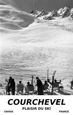 Courchevel, France vintage ski poster