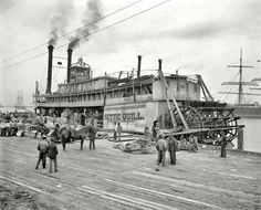 "Mobile, Alabama, circa 1906. ""River packet Nettie Quill."" 8x10 inch dry plate glass negative, Detroit Publishing Company."