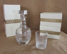 Cocktail Party Ralph Lauren Decanter 8 glass old fashioned lead crystal Bar set #RalphLauren
