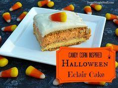 Candy corn inspired halloween eclair cake