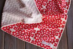 Baby Blanket  Amy Butler Wallflower in Cherry by Saravadesigns