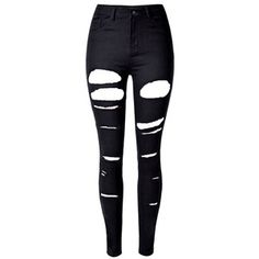 Black High Waist Ripped Skinny Jeans