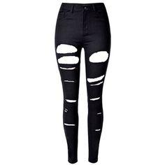 Black High Waist Ripped Skinny Jeans