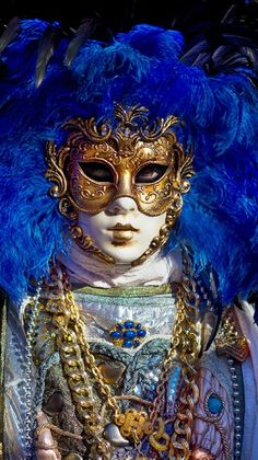 Blue and gold at Venice Carnival